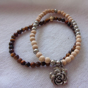 Jewelry - Rose charm pair of simple bracelets